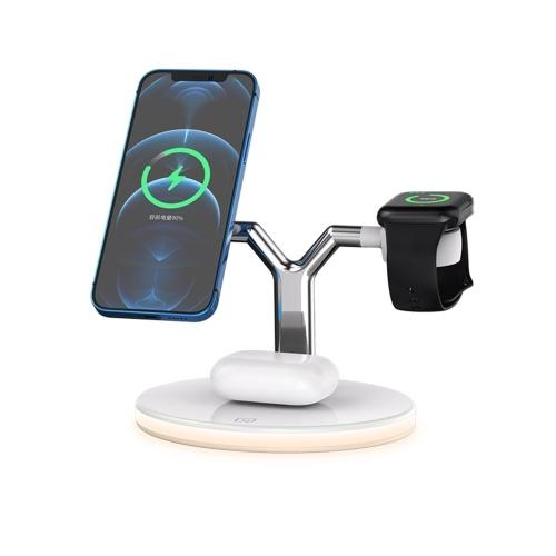 Беспроводное зарядное устройство 3 в 1 Беспроводная подставка для быстрой зарядки База для быстрой зарядки с ночником Стандартная замена QI для iWatch Airpods Pro iPhone 12 / 12pro Max Беспроводная зарядная панель