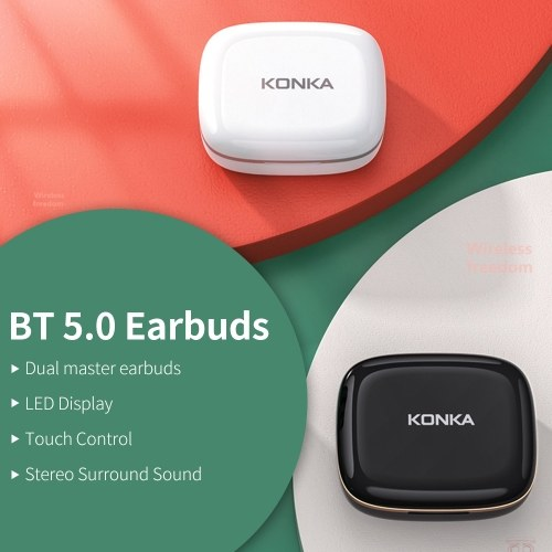 KONKA KT20 BT 5.0 Earbuds Dual Master Earbuds LED Display Touch Control Stereo Surround Sound Compatible with iOS/Android, White