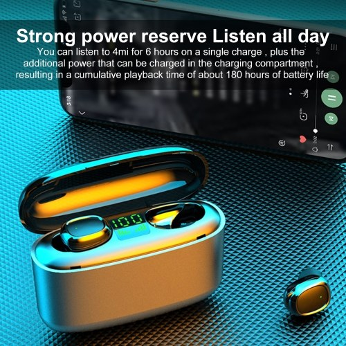 MR-G5S BT Earphones True Wireless Earbuds Touch Control Headset with Mic LED Display USB Output Power Bank