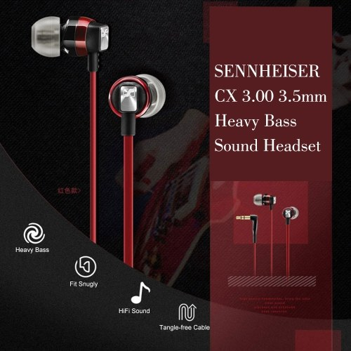 SENNHEISER CX 3.00 3.5mm In-ear Headphones Dynamic Headset Stereo Sound Heavy Bass Earphone with 1.2m Cable for Phones Tablet Laptops