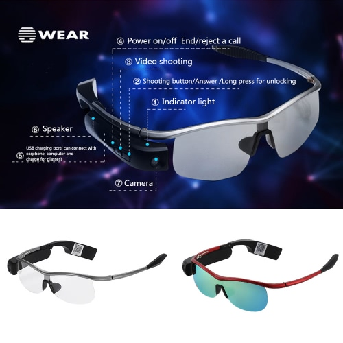 Original WEAR Bluetooth Smart Glasses with Earphone Bluetooth 4.0 Wireless Polarized Sunglasses Video Camera Recorder for iPhone 6S Plus Samsung Red