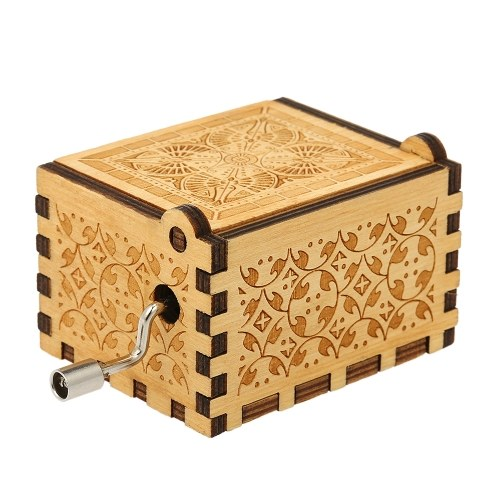 Vintage Wooden Theme Song Music Box Hand-operated Engraving Music Case Creative Children Toy