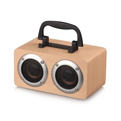 ポータブルBluetooth 4.2スピーカー木製プレーヤーステレオサラウンドプレーヤーダブルホーン内蔵1200mAhバッテリー、TFカードAUXオーディオサウンドバー付き