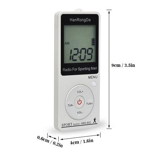 HRD-602 Portable Radio Receiver FM/AM Radio LCD Display Lock Button Pocket Radio with Earphone Sports Pedometer