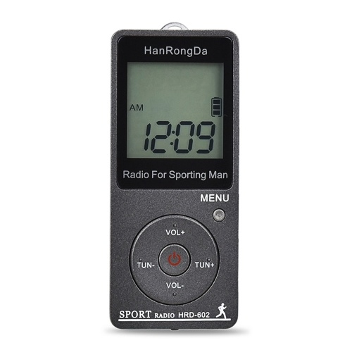 HRD-602 Tragbarer Radioempfänger FM / AM-Radio LCD-Display Sperrknopf Taschenradio mit Sport-Schrittzähler für Kopfhörer