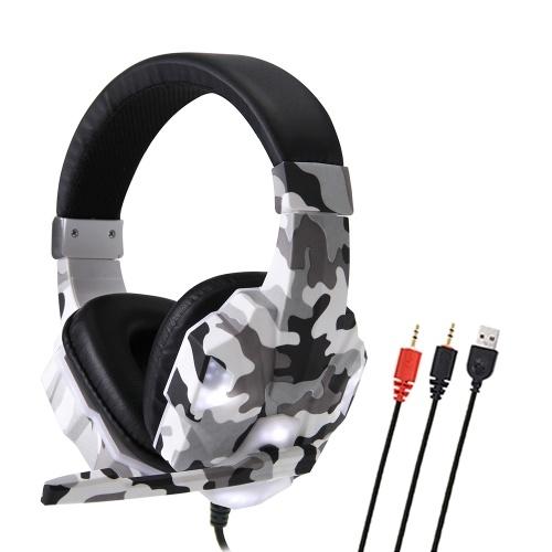 SY830MV Gaming Headset 3.5mm com fio sobre fones de ouvido com cancelamento de ruído E-Sport fone de ouvido com microfone LED Light AUX + USB para PC de mesa