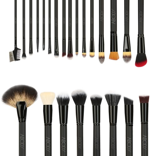 Abody 24Pcs Professional Makeup Brush Set Essential Cosmetic Make Up Brushes Kit with Black Bag Powder Brush Eyeshadow Eyebrow Brush