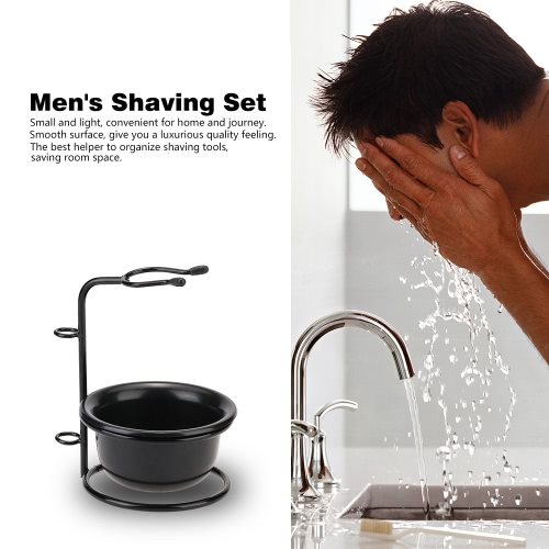 2 in 1 Men's Shaving Set Shaving Brush Holder Shaving Bowl Cup for Dry or Wet Shaving Male Facial Cleaning Tools Shaving Stand Organizer Beard Shaving Kit