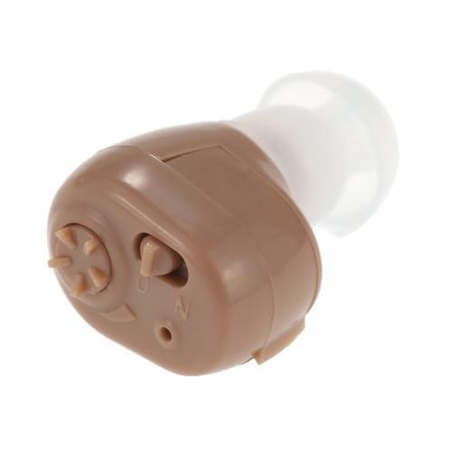 Ur-Ohren Mini Wireless In-Ear-Hörgerät Unterstützung Klangverstärker Audiophone ITE Lautstärke einstellbar mit Earplugs Reinigungsbürste für Hörgeschädigte Taschen