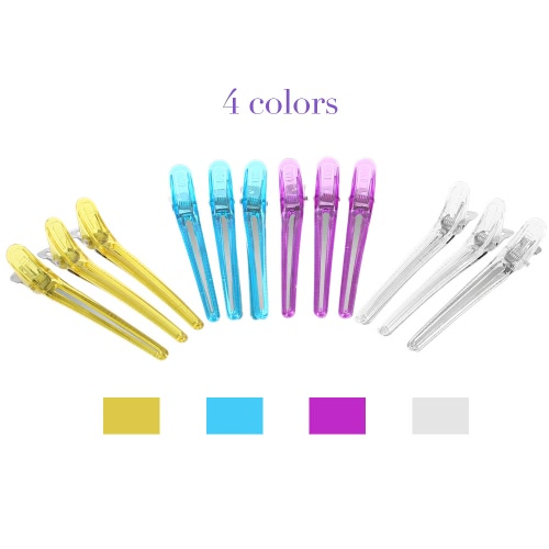 12Pcs Colorful Hair Grip Clips Hairdressing Sectioning Cutting Clamps Professional Plastic Salon Styling Hair Grip Clips Tool