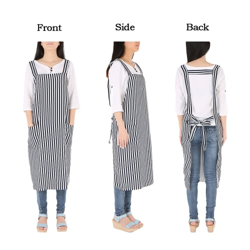 Hair Stylist Apron Striated Hairdressing Cape Haircut Cloth With 2 Pockets Nylon Anti-static Hairdressing Tool