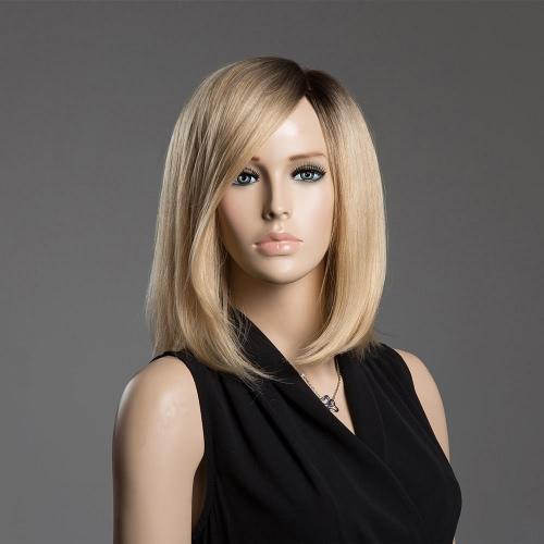 Средний Длинные волосы женщина прямые волосы парики реальные человеческие волосы Смешанные цвета парики девушки косплей волос 43см Black & Yllow Шиньон