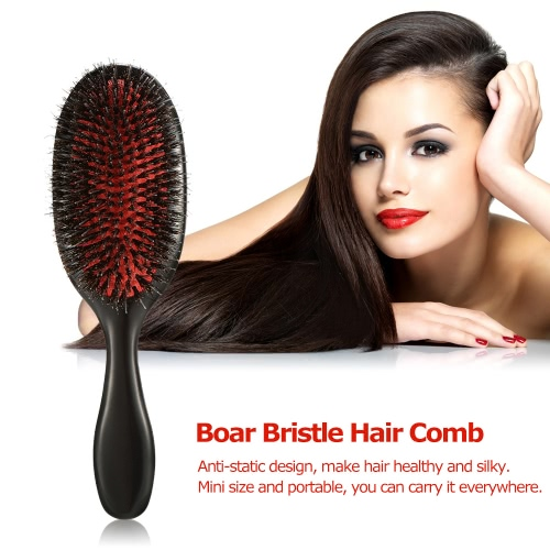 Boar Bristle & Nylon Hair Brush Oval Anti-static Paddle Comb Scalp Massage Hair Care Tool