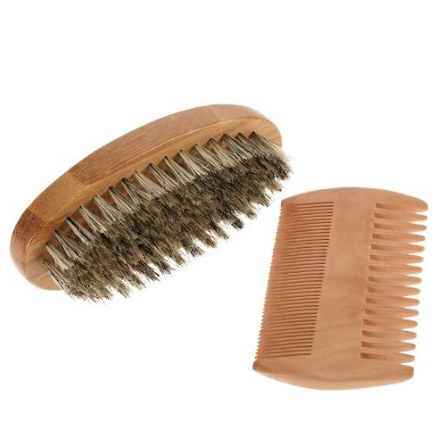 Escova dos homens Barba & Comb Kit cerdas Bigode Shaving Brush Bamboo Barba Pente Masculino Pêlos faciais jogo de escova