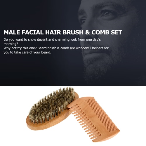 Men's Beard Brush & Comb Kit Boar Bristles Mustache Shaving Brush Bamboo Beard Comb Male Facial Hair Brush Set