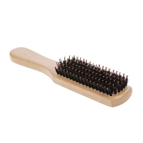 イノシシ毛髪ひげブラシくしナイロンピン口ひげブラシ静電気防止スカルプマッサージブナ木製ハンドル