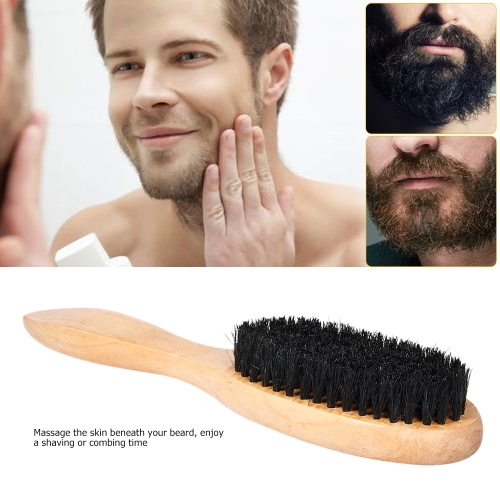Men��s Beard Brush Wooden Hair Brush Boar Bristle Wood Handle Shaving Brush Wooden Beard Comb