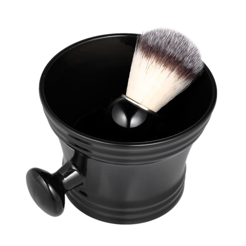 2pcs Traditional Beard Shaving Tools Set Wet Shaving Kit Shaving Brush Mug Bowl Home Barber's Black