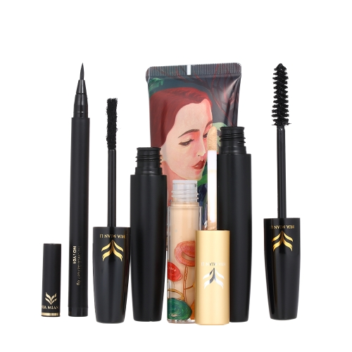 HUAMIANLI 4 stücke Kosmetik Make-Up Set Flüssige Foundation Concealer Eyeliner Stift 3D Faser Lash Mascara Wasserdicht