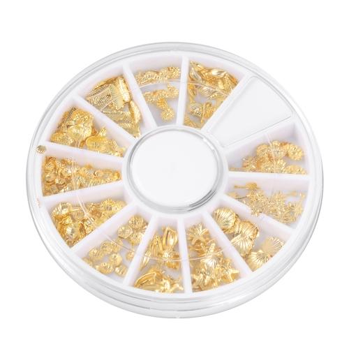 3D Gold Metal Nail Art Советы Морской оргазм Pattern Slice DIY Nail Decoration Наклейка Mix Designs Nail Art Tools