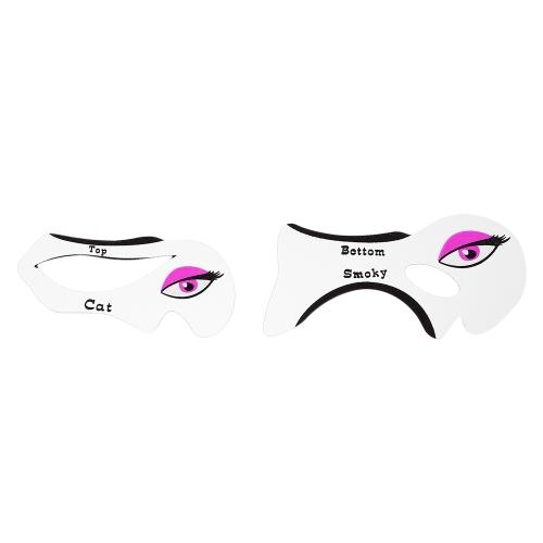 2pcs / pack Eyeliner Smoky Eye Shadow Cards Stencils Modelos Plantilla Maquillaje Reutilizable Herramientas Auxiliares