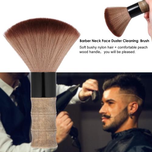 Barber Neck Face Duster Brush Cleaning Hairbrush Hair Sweep Brush Salon Haircutting Hairdressing Tool Soft Nylon Hair Peach Wood Handle