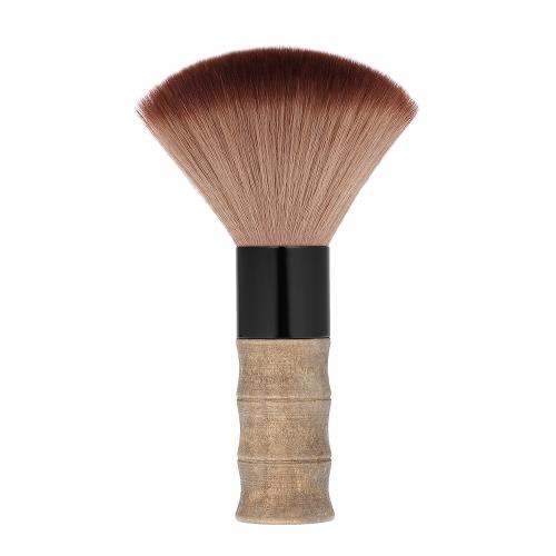 理髪師の首の顔ダスターブラシクリーニングヘアブラシ掃除ブラシサロンヘアカットツール美容ナイロン毛桃の木製のハンドル