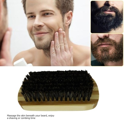 Men's Boar Bristle Beard Brush Mustache Shaving Brush Facial Hair Brush Bamboo Round Male Shaving Brush W6090