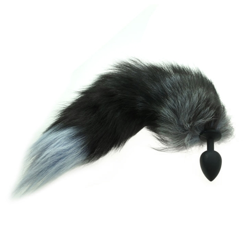 Silicone Butt Plug Fox Tail Type Anal Plug Soft Erotic Anal Beads (Black)