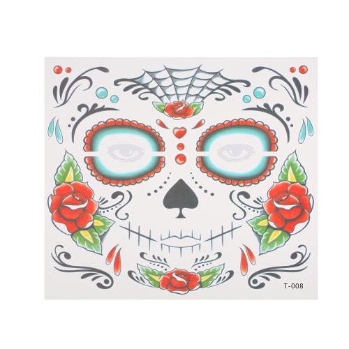 Временные наклейки наклейки татуировки Террор Хэллоуин Цветы Pattern Eyes Face Stickers Makeup Stage