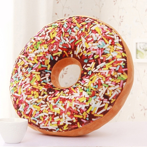 3D Creative Plush Donut Food Pillows Stuffed Toys Dolls Funny Cartoon Donuts Pillow Cover Plush Sweet Chocolates Sofa and Chair Back Cushions Car Mats