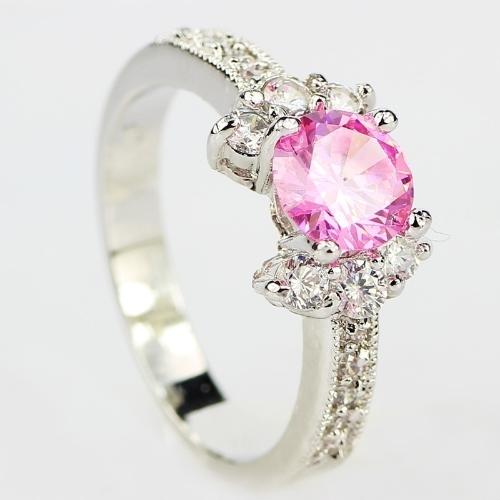 Anillo de plata de ley 925 de la manera 3ct Tamaño 6-9 increíble Corte de princesa Pink Sapphire & Topaz Anillo de compromiso negro 5