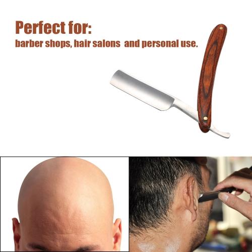 Antique Men's Straight Cut Carbon Steel Folding Razor Retro Barber Beard Throat Shaving Pearwood Handle Male W1671