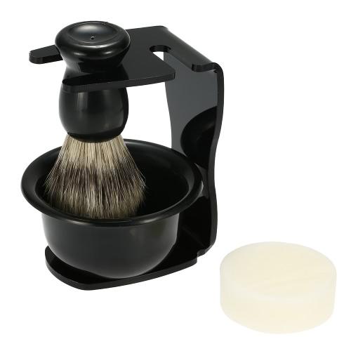4 em 1 navalha de barbear masculino definido para seco ou molhado texugo cabelo pincel de barba + Stand + tigela de sabão de barbear + sabonete Razor titular ferramentas de limpeza Facial masculinas barba barbear Kit sabão prato Blaireau pincel de barba