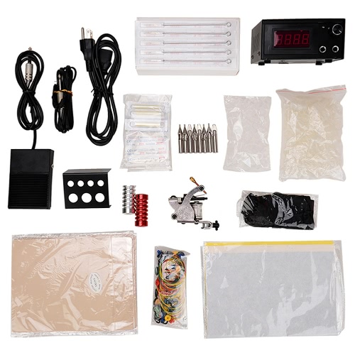 Professional Tattoo Machine Complete Tattooing Kit Disposable Needle 60-250V US Plug