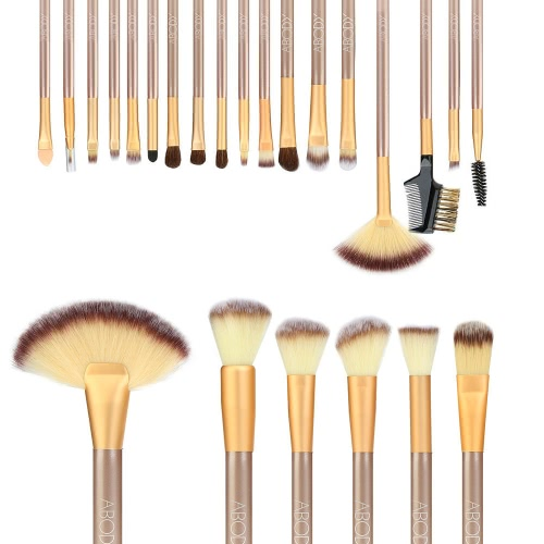 Abody 24Pcs Professional Makeup Brush Set Cosmetic Make Up Essential Brushes Kit with White Bag Powder Brush Eyeshadow Eyebrow Eyeliner Brush