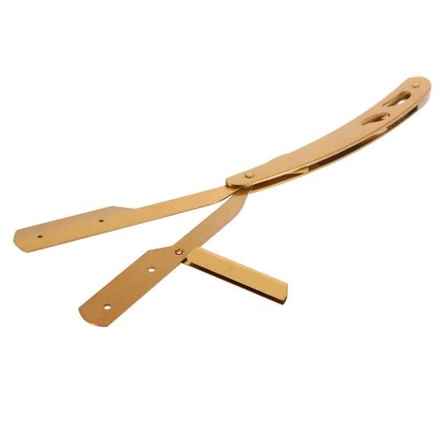 Herramienta de afeitar recta del peluquero del borde de afeitar oro del acero inoxidable plegable de la máquina de afeitar de afeitar calidad del salón
