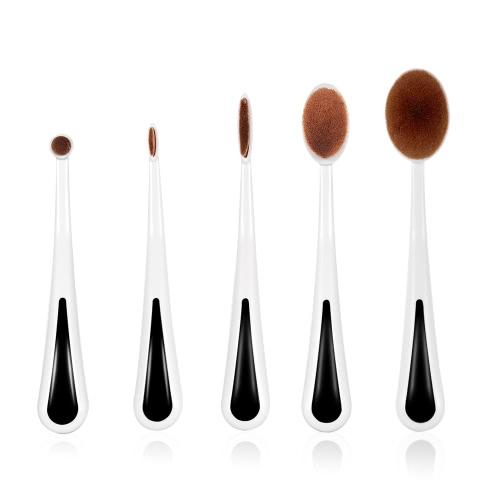5pcs Овальные кисти для макияжа Набор Мягкие Косметические Зубной Щетки для начинающих с держателем Укрыватель Фонд Blush Brush Брови Тени для век
