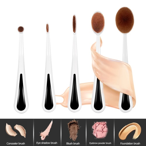 5pcs Oval Makeup Brushes Set Soft Cosmetic Toothbrush Beginners Brushes with Holder Concealer Foundation Blush Eyebrow Eyeshadow Brush