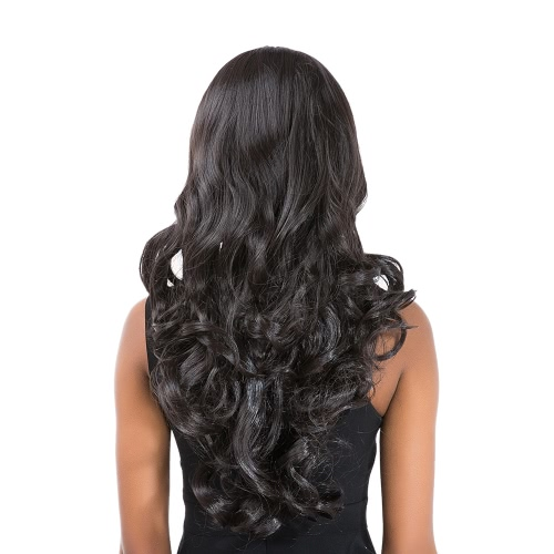 25「女性ウィッグロングカーリー波状ブラック高温度ファイバーウィッグヘアピースコスプレパーティー女性ウィッグ