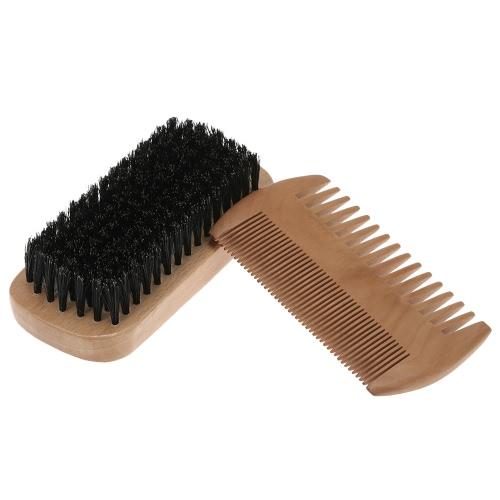 dos homens Beard escova bigode Comb Kit Masculino Cerdas Shaving Brush Madeira Pente Cabelo Facial jogo de escova