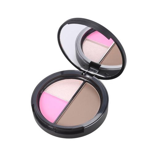La herramienta cosmética profesional de la cara de la gama de colores del resaltado del polvo de Concealer de la mujer del contorno del maquillaje de Foccure 1pc con el espejo 1 #