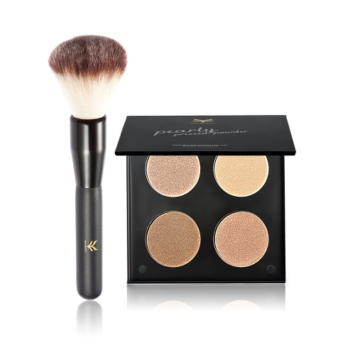 Huamianli marca 2pcs cosméticos kit de 4 colores destacados prensado polvo + cepillo de nylon cepillo maquillaje Set Contour Shadow Powder