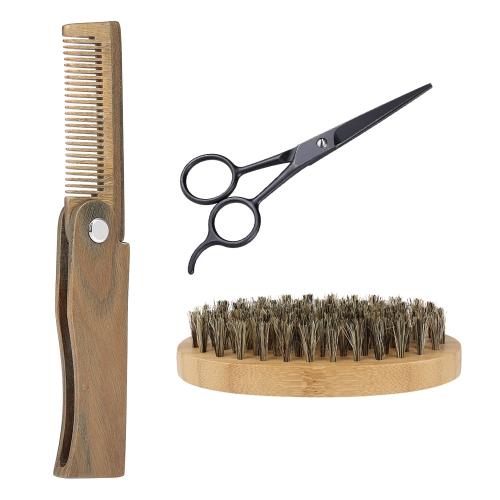 3Pcs Männer Bart Pinsel Kamm Scissor Kit Rasierpinsel + Verawood Bart Kamm + Edelstahl Scissor Male Gesichts Haarbürste Set
