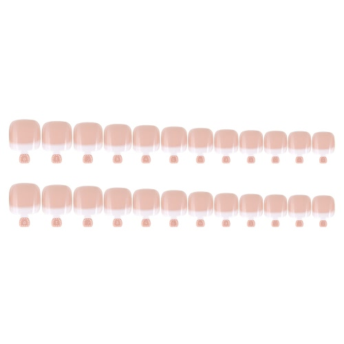 24Pcs False Toenail Tips Set French Full Cover Fake Toe Nail Tips для DIY Manicure