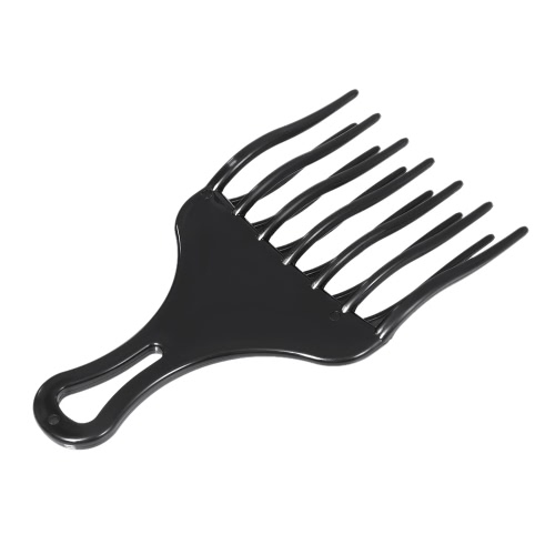 1Pc Hair Comb Insert Afro Hair Pick Comb Hair Fork Comb Plastic High & Low Gear Comb Hairdressing Styling Tool Black for Man & Woman
