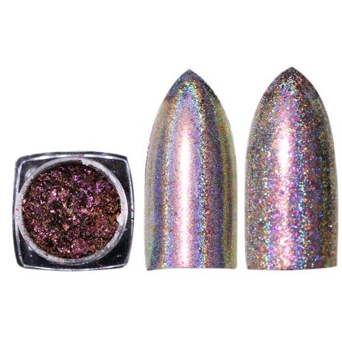 Brillante Rainbow Laser Magic Espejo Polvo Nail Art Glitter Moda Nails Decoración Womens Nail DIY