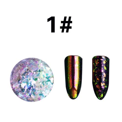 Transparente Brocade Powder Mirror Nail Glitter Pigment Powder Manicure Nail Art Glitter Chrome Powder Decorações 01