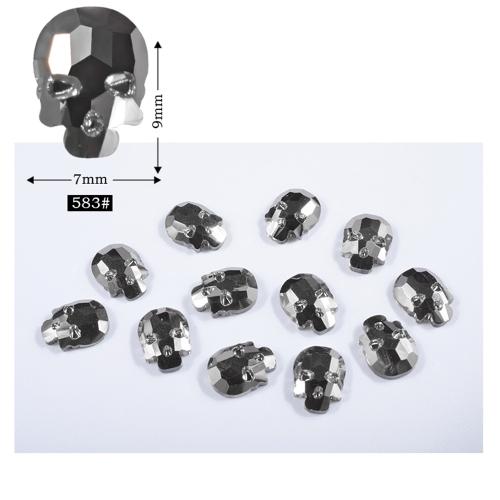 DIY 10pcs Decoração Skull Heads Manicure Gel Nail Art Sticker Patch