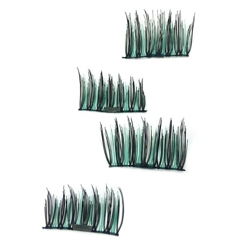 4本/セットマグネットバックルマグネット偽りのない接着剤3D偽カラフルなまつげ